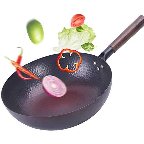 Pfanne Gusseisen, Bratpfannen mit Deckel Antihaft-Woks, großer 12,5-Zoll-Wok-Bratpfanne Handgehämmerter traditioneller chinesischer Wok, für Elektro-, Induktions- und Gasherde