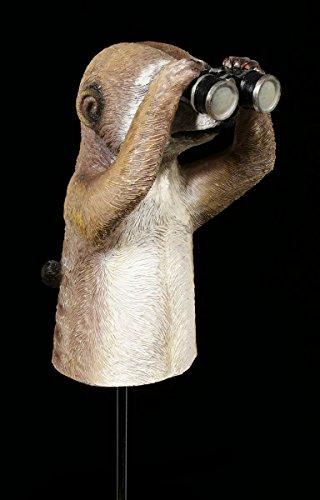 Erdmännchen Figur mit Fernglas Gartenfigur Stecker | Garten Deko Statue