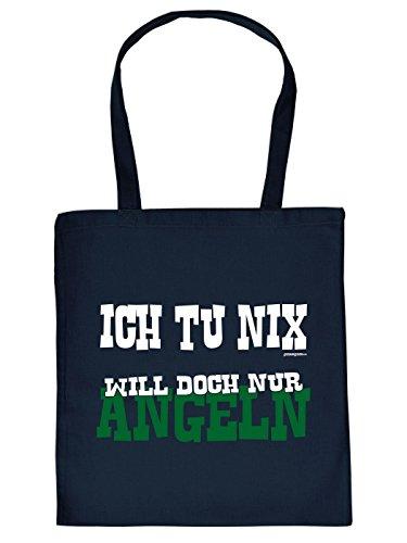 Stofftasche - Ich tu Nix - Will doch nur Angeln - lustig bedruckte Umhängetasche für Angler mit Humor - Baumwolltasche Tragetasche mit witzigem Spruch
