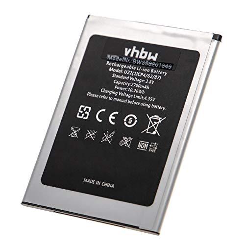 vhbw Akku kompatibel mit Oukitel U22 Handy Smartphone Handy (2700mAh, 3,8V, Li-Ion)