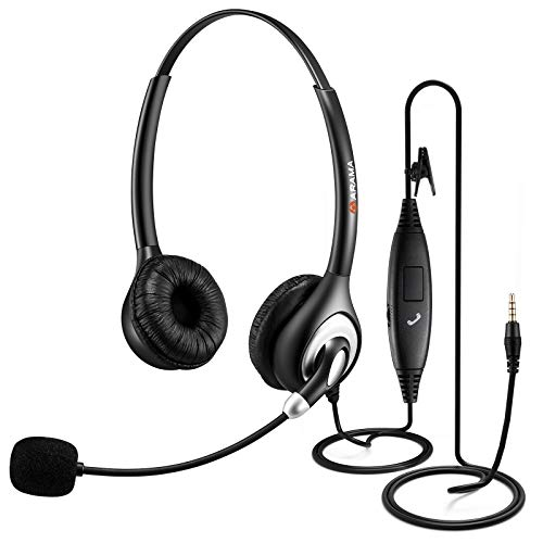 Arama Cell Phone Headset with Microphone Noise Cancelling & Call Controls 3.5mm Computer Headphone for iPhone, Android, Laptop, PC, Call Center Office, Business Skype Softphone