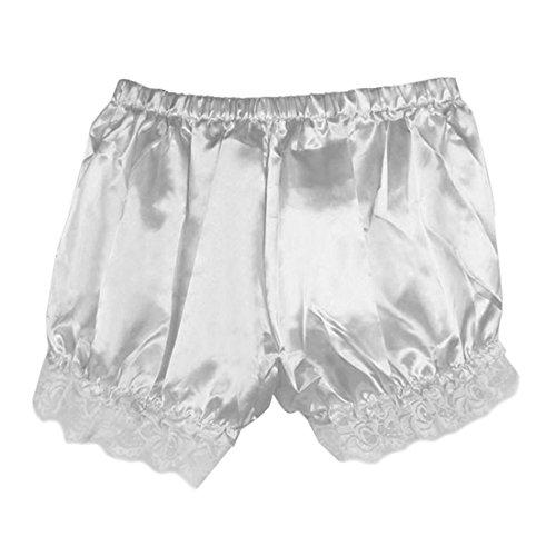 Brawdress Leggings Damen, Mädchen Vintage Bloomers Locker Spitzen Sicherheit-Hosen Shorts (One Size, Weiß)