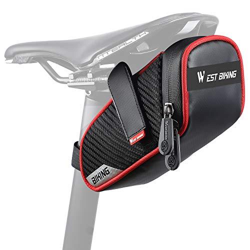 West Biking Fahrrad-Satteltasche, kompakt, wasserdicht, Fahrradzubehör mit reflektierenden Streifen, große Kapazität, MTB-Aufbewahrungstasche für Mini-Pumpen-Reparaturwerkzeuge, rot