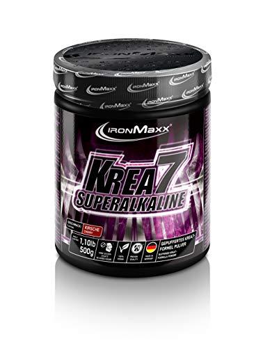 IronMaxx Krea7 Superalkaline Powder, Cola-Limette – 7-Komponenten Kreatin Pulver für die Leistungssteigerung – 1 x 500 g Pulver