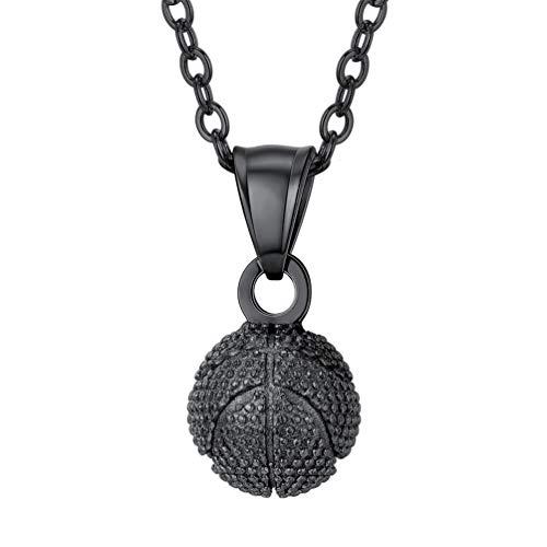PROSTEEL Damen Herren Halskette Schwarz Edelstahl 3D Basketball Anhänger mit 56cm Rolokette Trendig Sport Modeschmuck Geburtstag Geschenk für Männer Frauen