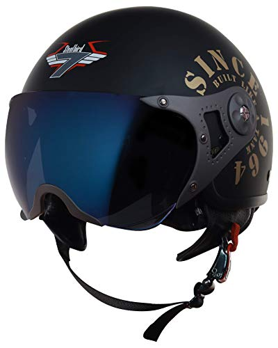 Steelbird SB-27 7Wings Tank Open Face Graphic Helmet (Large 600 MM, Matt Black/Gold Helmet Fitted with Clear Visor and Extra Chrome Blue Visor)