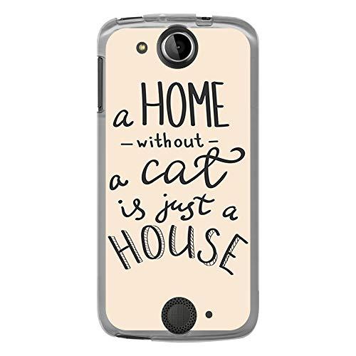 BJJ SHOP Transparent Hülle für [ Acer Liquid Jade S ], Flexible Silikonhülle, Design: Motivierende Phrase, Liebhaber von Katzen, a Home Without a cat is just a House