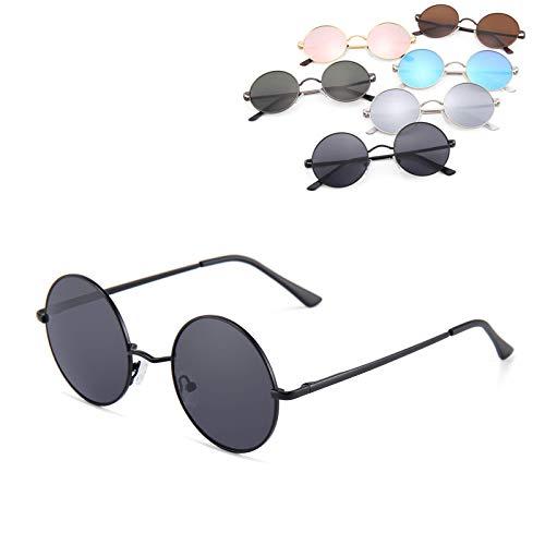 Retro Vintage Sonnenbrille rund verspiegelt mit rundem Metallrahmen Brille für Frauen und Männer (schwarz - schwar.)