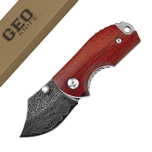 Geo 908 Mini Taschenmesser Klein Klappmesser Holzgriff Scharfe Einhandmesser - EDC & Outdoor Messer aus Damaststahlklinge Utility Folding Pocket Knife