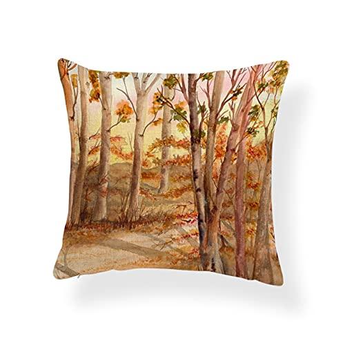 Fundas Cojines Cojín Decor Casa Fall Palm Tree Ocean Funda de cojín Sunset Maple Leaf Forest Pillows Salón étnico Almohada con Funda Arpillera Cuadrada Decorativa Regalo