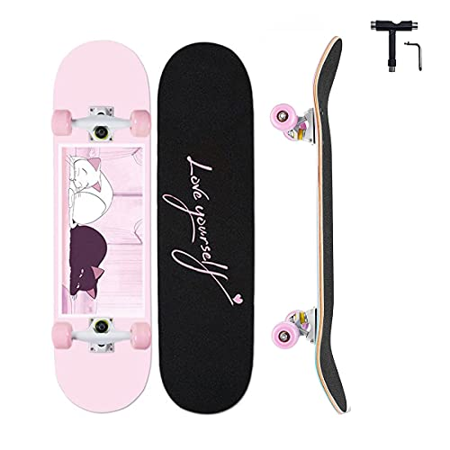 Skateboards for Girl Beginners,Anime Complete Standard Skateboard 31' X 8',Maple Double Kick Concave Skate Boards for Kids Youths Teens Adults,Magic Cat Theme ,Pink Skateboards Gifts for Girls