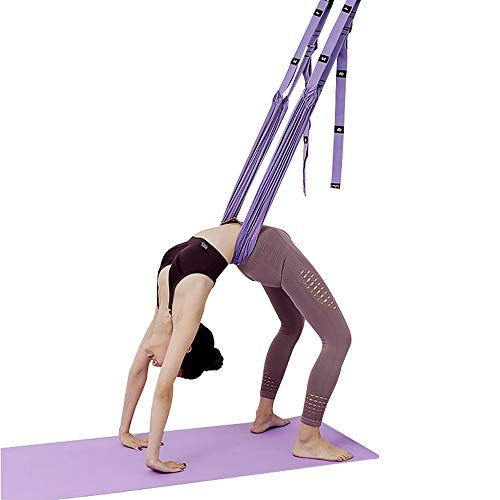 HORKEY Yoga Trapeze, Waist Back Leg Stretch Strap Door Backbend Assist Trainer Yoga Straps for Stretching Back Bend Split Inversion Strap for Fitness Door Flexibility Trainer (Purple)