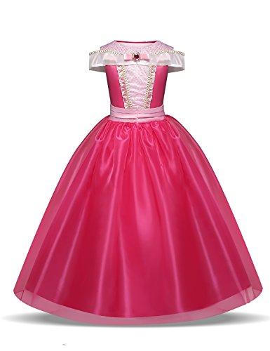 NNJXD Niñita Vestido Largo De Fiesta De Cosplay Disfraz De Carnaval Para Princesa Tamaño(110) 3-4 Años Rosa roja