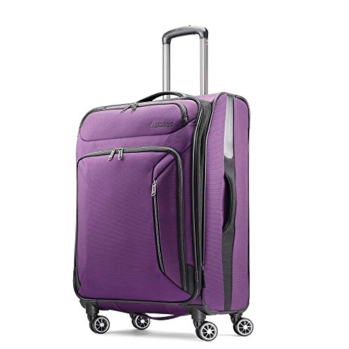 American Tourister Zoom Softside Luggage with Spinner Wheels, Purple, Checked-Medium 25-Inch
