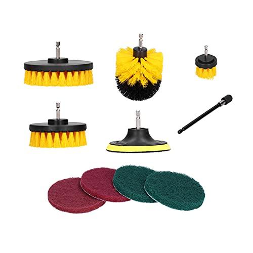 Cepillo de limpieza de taladro, Cepillo de limpieza giratorio Kit de cepillo de taladro para alfombra de limpieza de baldosas de piscina, Neumáticos de coche para grietas de bandeja de