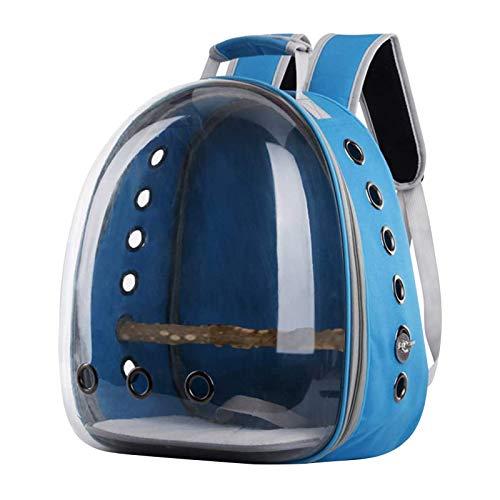 Pet Bird Rucksack Reisetasche,Tragbarer Pet Bird Papageienträger Transparenter Vogelreisekäfig,Leichter Vogelträger Und Papageientragetasche(Blau)
