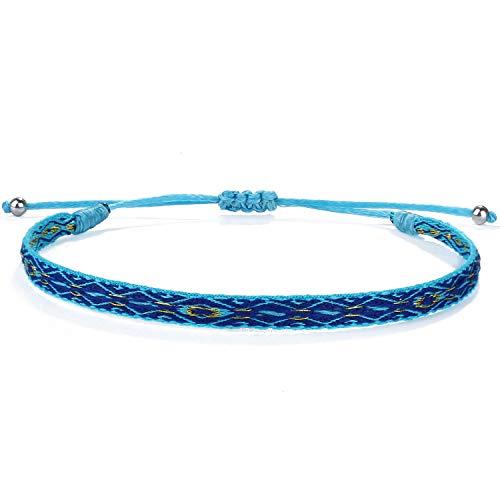 Kanyee Bracelets Tour Broderie Tissé Bracelets Extensible Fait A La Main Bracelet Charm D'amitié pour Femmes Hommes