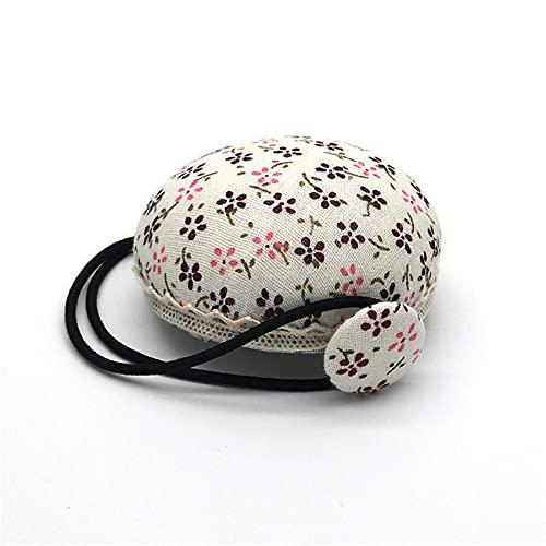 ZHDXW Igła poduszka opaska igła szpilka poduszka vintage chiński styl kwiatowy szpilka poduszka pasek na nadgarstek okrągła igła szpilka poduszka, 1 beżowy kwiat