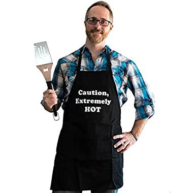 BBQ Bud, Men's Fun Grilling Apron: Caution Extremely HOT (Black)