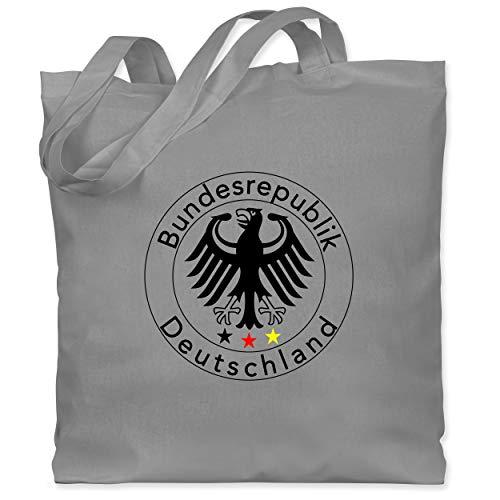 Shirtracer Fußball-Europameisterschaft 2021 - Deutschland Adler Fußball - Unisize - Hellgrau - Deutschland - WM101 - Stoffbeutel aus Baumwolle Jutebeutel lange Henkel
