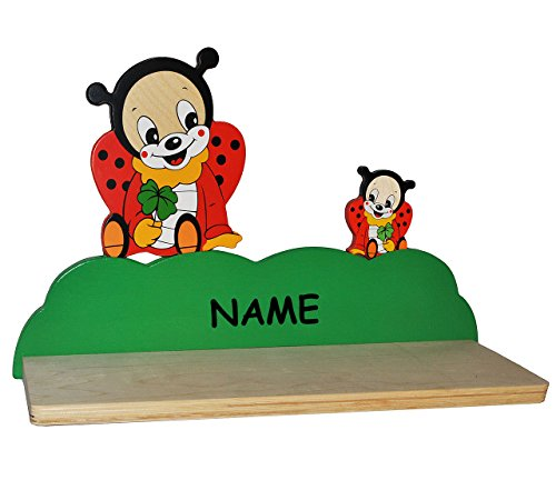 alles-meine.de GmbH Wandregal aus massiven Holz - Marienkäfer incl. Name -für Kinder Kinderregal / Bücherregal / Hängeregal / Regal Tier - Mädchen Jungen - Kinderzimmer Wandboard..
