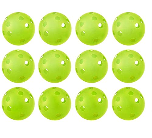 Faxco 12 PCS Green Plastic Baseball, Sports Hollow Balls, Plastic Baseballs for Training, Golf Indoor Practice Balls