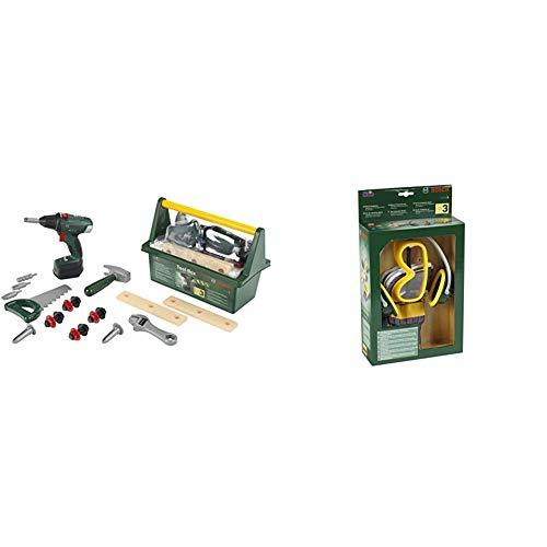 Theo Klein 8520 Bosch Werkzeug-Box I Mit Hammer, Säge, Rollgabelschlüssel und vielem mehr I 31 cm x 16,5 cm x 12,5 cm & Bosch 3-teiliges Zubehör-Set I Arbeitshandschuhe, 19,5 cm x 7 cm x 33,5 cm