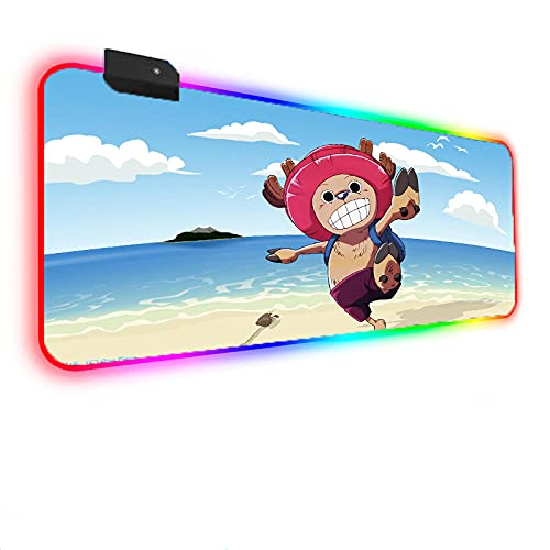 Mouse Pads Anime One Piece Chopper at The Sea Beach RGB Gaming Mouse Pad LED Backlit Non-Slip Extended Mouse Mat for Game 23.6x11.8 in