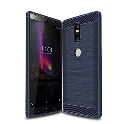 König Design Handy-Hülle kompatibel mit Lenovo Phab2 Plus Silikon Case Hülle Sturzsichere Back-Cover Handyhülle - Carbon - Blau