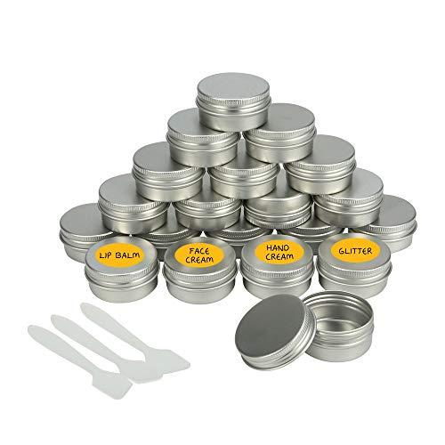 Bestechno 20pcs Leere Kosmetik Behälter: Mini Spatel und Etiketten für Make-up: Puder, Probe, Creme Aufbewahrung (20 ml)