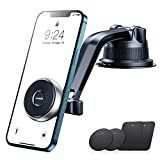 [Magnetic Innovator] andobil Magnetic Phone Holder for Car, [Bumpy Roads Friendly] Ultimate Dashboard Windshield Car Phone Mount Compatible with All iPhone 12 Pro max 11 Samsung All Cars Jeep