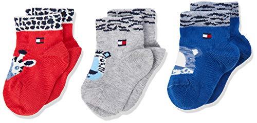 Tommy Hilfiger Unisex Baby TH NEWBORN NY ZOO GIFTBOX 3P Socken, Mehrfarbig (Tommy Original 085), Neugeboren (Herstellergröße: 11/14) (3er Pack)