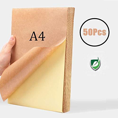 WOWOSS 50 Hojas Papel Kraft Autoadhesivo A4