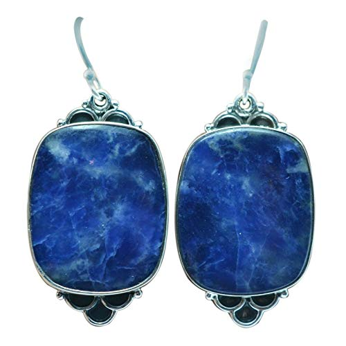 Sodalite gemstone dangle earrings 10.79g jewelry 925 sterling Silver Meadows
