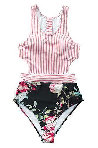 CUPSHE Damen Badeanzug mit Reißverschluss Streifen Blumenmuster Tank Top Einteilige Bademode Swimsuit Rosa M