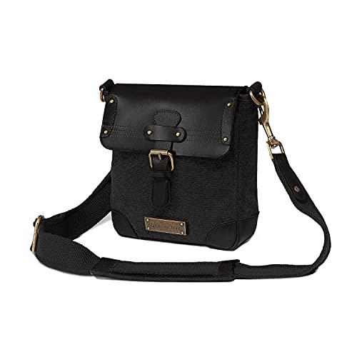 DRAKENSBERG Cross Body Bag - Kleine Umhängetasche und Handtasche für Damen und Herren im Retro-Vintage-Design, handgemacht in Premium-Qualität, 6L, Canvas und Leder, Schwarz, DR00142