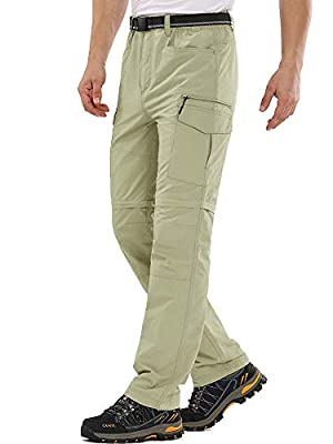 Mens Hiking Pants Outdoor Quick Drying Convertible Zip Off Moisture Wicking, Sun Protection Cargo Shorts,6055,Khaki,32