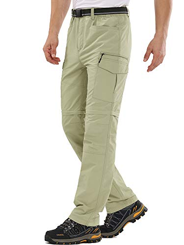 Mens Hiking Pants Convertible Outdoor Quick Dry Lightweight Fishing Zip Off Cargo Work Pants Trousers