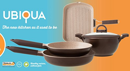 Italy's Tognana Ubiqua 5 Pcs (4 pots and pans with one lid) Advanced 3rd Generation Ceramic Coating Non-stick Cookware set - Induction Ready, Non-Toxic PFOA Free