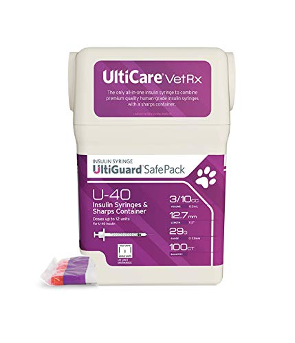 "UltiCare VetRx U-40 UltiGuard Safe Pack Pet Insulin Syringes 3/10cc, 29G x 1/2"", 100ct (with 1/2 Unit Markings) Maryland"