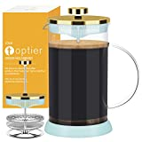 Small French Press, TOPTIER French Press Coffee Makers with 304 Stainless Steel Filter and Heat Resistant Borosilicate Glass, Mini French Press Tea Maker for 12 oz, Gold and Blue