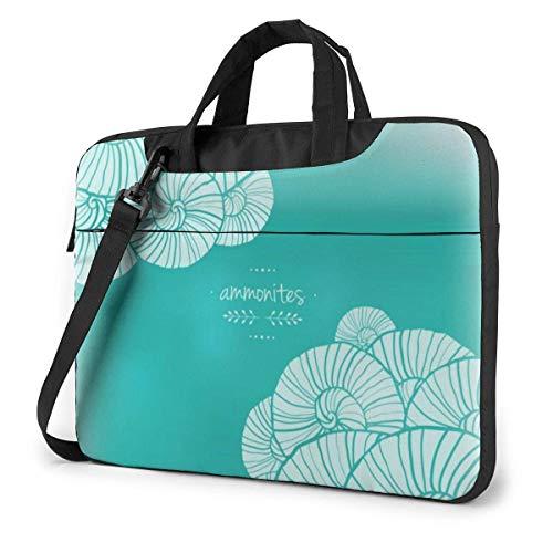 15.6 inch Laptop Shoulder Briefcase Messenger White Flowers on Green Tablet Bussiness Carrying Handbag Case Sleeve