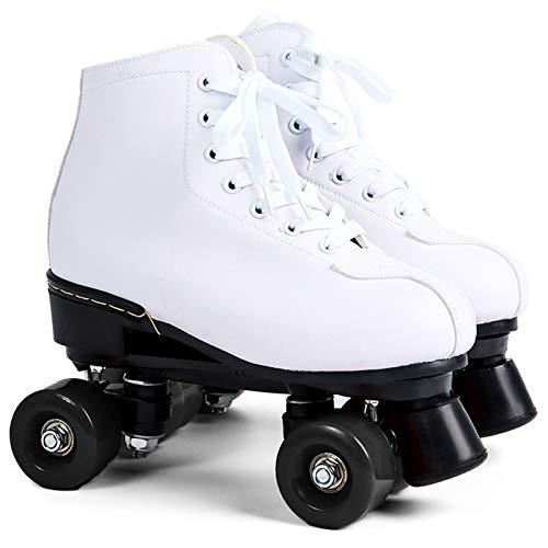 SummarLee Herren und Damen Rollschuhe Weißes Leder, LED Leuchten, Die im Freien Zweireihig Vier Rollschuhe Blinken,Black Wheel,39