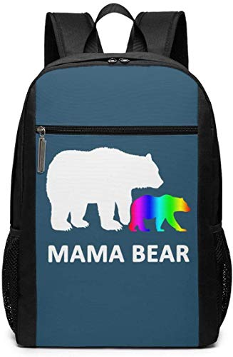 LGBT Unisex Mehrzweck-Schultertasche, Rucksäcke für Schule, Büchertasche, Casual Daypack, Laptoptasche, 43,2 cm (17 Zoll) LGBT Mom Bear LGBT Mom Bear