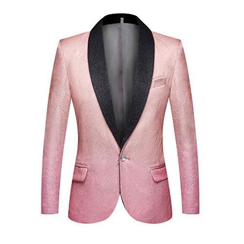 PYJTRL Mens Fashion Gradient Color Shiny Slim Fit Blazer Shawl Lapel Suit Jacket (Champagne Pink, 44)