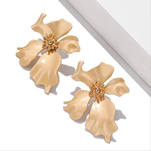 Dames oorbellen sets hoepels eenvoudig schilderij bloemblad kleine onregelmatige metalen oorbellen voor vrouw meisje cadeauez290-3