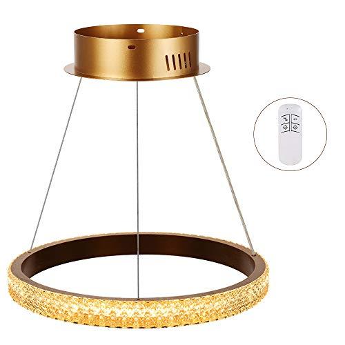 Horevo Modernen 24W Led Ringe Pendelleuchte Dimmbar Kristall, Verstellbare Hängelampe Höhenverstellbare mit Fernbedienung und Bluetooth App, Stufenloses Dimmen, für Wohnzimmer Esszimmer Küche
