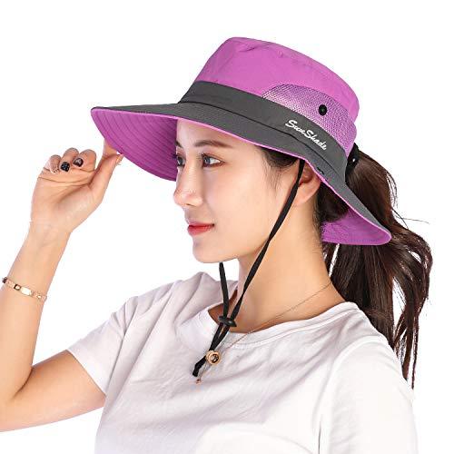 VICSPORT Sombrero de Sol para Mujer Gorro de ala Ancha de MallaSombreros de Pesca al Aire Libre Protección UV