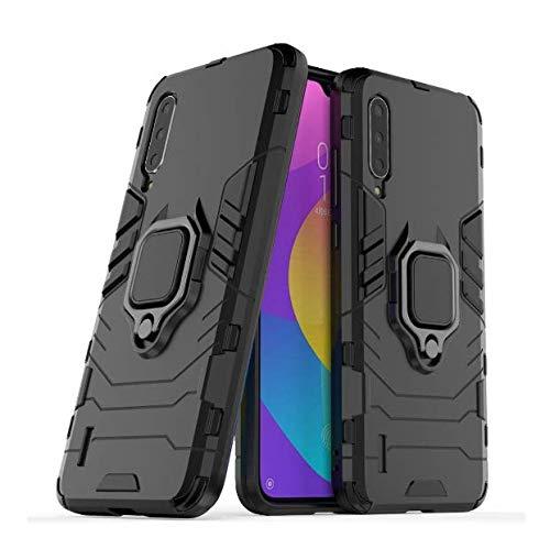 Capa Capinha Anti Impacto Armor Ring+ Película 9d Xiaomi Mi A3 (Capa Anti Impacto Armadura RING Preta+ Película de Vidro Full glue 9D com bordas pretas)