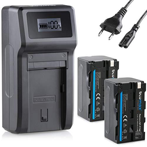 Blumax 2X Akku NP-F750 / NP-F550-4000mAh + Turbo-Ladegerät   kompatibel mit Sony NP-F970 NP-F960 NP-F990 für Blitzgeräte Videoleuchten Fieldmonitore…